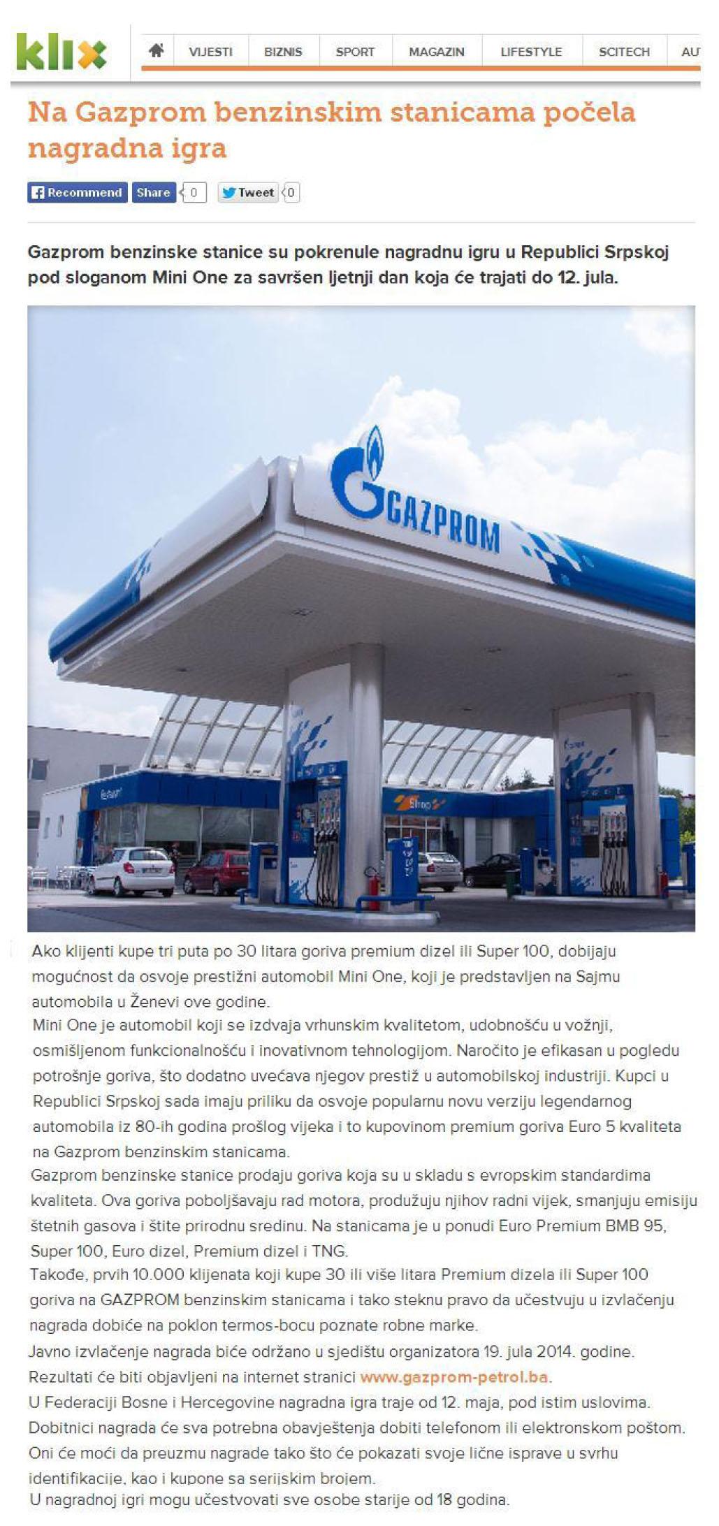 Na Gazprom benzinskim stanicama počela nagradna igra
